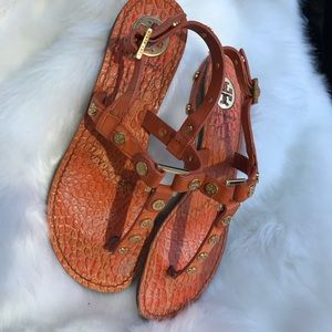 Tory Burch orange leather T strap sandals 7